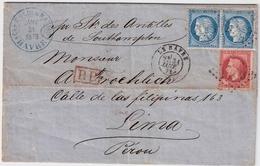 "1873, Lettre "" LE HAVRE "" Pour Lima, Perou   , #a1506 - 1849-1876: Periodo Classico"