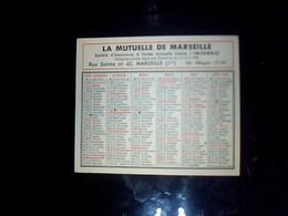 Calendrier Petit Format La Mutuelle De Marseille  Annee 1956 - Calendriers