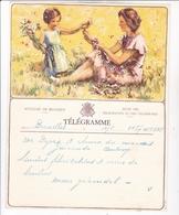 TELEGRAMME DE PHILANTROPIE / NAISSANCE / FEMME ENFANT FLEURS / DEPART BRUXELLES - Stamped Stationery
