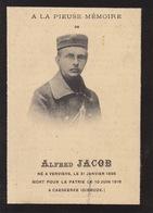 Soldat Alfred Jacob De Verviers Mort à Caeskerke Dixmude Guerre WWI 14-18 - Obituary Notices