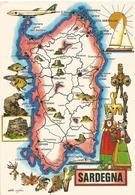 V3195 Sardegna - Carta Geografica Map Carte Geographique / Non Viaggiata - Carte Geografiche