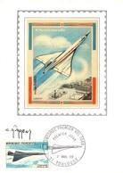 PA  43 Sur Carte Maximum - Concorde Avion Supersonique - Inauguration Du Premier Vol, Signée Par Cl. Durrens Graveur - 1960-69