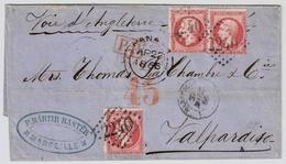 """1866, """" Marseille """" Pour Chili, 80 C. Multiple! Tres Bon Etat !!  , #a1508 - 1849-1876: Classic Period"""