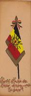 Image Faite Main Coeur Sacré De Jésus Drapeau Belge Patriotisme étendard - Devotion Images