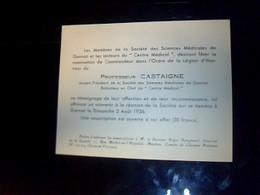 Carte  D Invitation Membre De La Société Des Sciences Medicales De Grannat Professeur  Castaigne Annee  1936 - Cartes De Visite