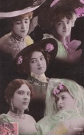 Carte 1905 Signée Reutlinger Artiste ,5 Visages De Femmes ,chapeau - Entertainers