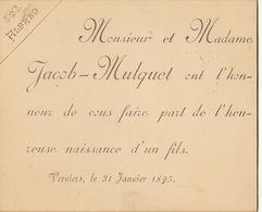 Carton Pour La Naissance D'alfred Jacob Verviers 1895 - Geburt & Taufe