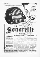 """PUB RADIO """" SONORETTE """" De   """" SONORA  """"  1951 - Radio & TSF"""