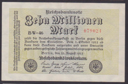 Reichsbanknote 10 Millionen - Rosenberg 105 Mit FZ: BW-46 - [ 3] 1918-1933: Weimarrepubliek