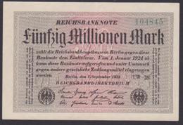 Reichsbanknote 50 Millionen - Rosenberg 108 Mit FZ: UB-28 - [ 3] 1918-1933 : Weimar Republic