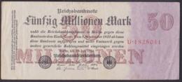 Reichsbanknote 50 Millionen Vom 1.9.23 - Rosenberg 97 Mit FZ: U - [ 3] 1918-1933 : République De Weimar