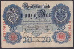 Reichsbanknote 20 Mark Vom 19.2.1914 - Rosenberg 47, Starke Gebrauchsspuren - 1871-1918: Deutsches Kaiserreich