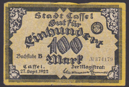 Cassel Stadtgeld 100 Mark 27.Sept. 1922 Abb. Rathaus Gebrauchsspuren - 1871-1918: Deutsches Kaiserreich