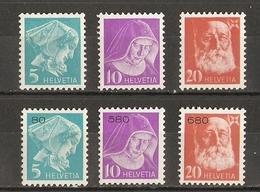Suisse 1935 - Franchise Avec Et Sans Chiffres - 13A/15A Et 13B/15B - MNH - Dunan - Diaconesse - Petite Soeur Des Pauvres - Franchise