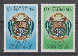 PAIRE NEUVE DE NAURU - 10E ANNIVERSAIRE DE L'INDEPENDANCE DE LA REPUBLIQUE N° Y&T 156/157 - Nauru