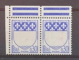 VARIETE  Paire N° 1354b, 0.30 Paris SANS LE ROUGE, Bdf (pli Sur 1 T.), N** X4530 - Variétés Et Curiosités