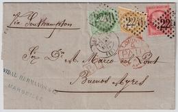 1874, Lettre Superbe ,3 Couleurs Pour Bueonos-Ayres  , #a1516 - 1849-1876: Classic Period