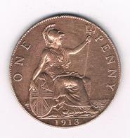 ONE PENNY 1913  GROOT  BRITANNIE /8369/ - 1902-1971 : Monnaies Post-Victoriennes