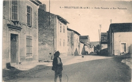 Cpa 54 Belleville Ecole Primaire & Rue Nationale - Frankrijk