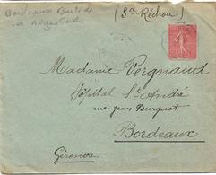 CONVOYEUR BORDEAUX BASTIDE ANGOULEME 1930 SEMEUSE LIGNEE 50c - Postmark Collection (Covers)