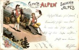 Gruss Aus Den Alpen - Litho - Souvenir De...