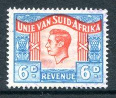 South Africa 1946-52 KGVI Revenue - 6d Blue & Orange - Language ERROR Used (Barefoot 68a) - Afrique Du Sud (...-1961)