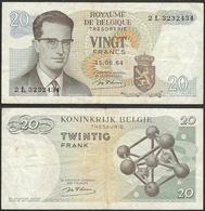 BELGIUM - 20 Francs 1964 P# 138 Europe Banknote - Edelweiss Coins - Belgien