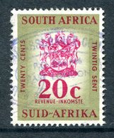 South Africa 1961-68 QEII Revenue - 20 Yellow & Blue Used (Barefoot 114) - South Africa (1961-...)