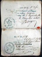 PASSEPORT  ANCIEN 1859 TRES NOMBREUX CACHETS CONSULATS ITALIENS NAPLES ETATS DU PAPE NICE 11 SCAN - 1849-1876: Classic Period