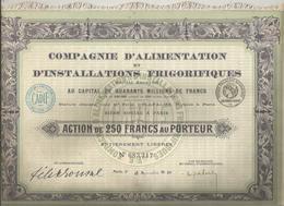 Action De 250 Francs , Compagnie D'Alimentation Et D'Installations Frigorifiques ,1920, Complet  , Frais Fr 2.25 E - Actions & Titres