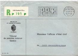 Postal History: Switzerland Registered PP Cover From Tribunal De Geneve - Switzerland