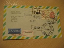 RIO DE JANEIRO 1975 To Solna Sweden Registered Air Mail Cancel Cover BRASIL Brazil Bresil - Brésil