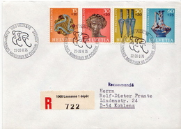 Postal History: Switzerland Registered Cover With Full Set And Cyclism Cancel 1975 - Cycling