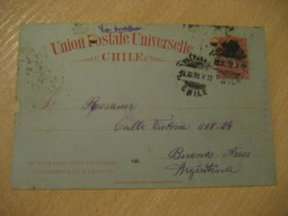 VALPARAISO 1898 To Buenos Aires Argentina 3 Centavos Colon Columbus UPU Postal Stationery Card CHILE - Chili