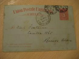 VALPARAISO 1901 To Buenos Aires Argentina 3 Centavos Colon Columbus UPU Postal Stationery Card CHILE - Chili