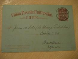 SANTIAGO 1895 To Barcelona Spain 3 Centavos Colon Columbus UPU Postal Stationery Card CHILE - Chili