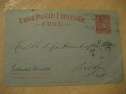 CASA DE ORATES Hospital Santiago 1900 To Boston USA 3 Centavos Colon Columbus UPU Postal Stationery Card CHILE - Chili