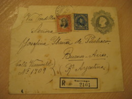 SANTIAGO 1915 To Buenos Aires Argentina 5 Centavos Colon Columbus Registered Postal Stationery Cover CHILE - Chili