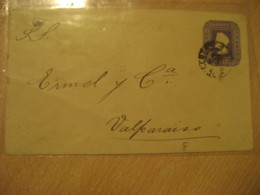 1892 To Valparaiso 5 Centavos Colon Columbus Postal Stationery Cover CHILE - Chile