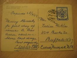 PAPUDO 1953 To Buffalo USA Cumbre Del Bronce Las Condes Mountain Mountains Post Card CHILE - Chili