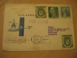 OSORNO 1959 To Hamburg Germany Via BAHIA MANSA Con Motonave Carmen Cancel Air Mail Cover CHILE - Chili