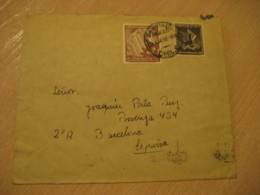SANTIAGO 1950 To Barcelona Spain Stamp Cancel Air Mail Cover CHILE - Chili
