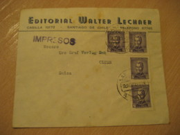 SANTIAGO 1958 To Olten Switzerland Stamp Cancel Cover CHILE - Chili
