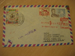 SANTIAGO 1971 To Buenos Aires Argentina Stamp Cancel Registered Meter Air Mail Cover CHILE - Chili