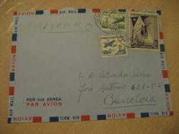 SANTIAGO 1960 To Barcelona Spain ITALIA Societa Di Navegazione Stamp Cancel Air Mail Cover CHILE - Chili