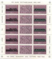 1982 Svizzera, Ferrovia San Gottardo Minifoglio , Serie Completa Nuova (**) - Blocchi & Foglietti