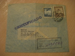 SANTIAGO 1948 To Montevideo Uruguay Stamp Registered Cancel Air Mail Cover CHILE - Chili