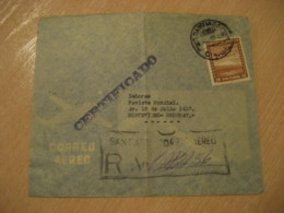 SANTIAGO 1947 To Montevideo Uruguay Stamp Registered Cancel Air Mail Cover CHILE - Chili