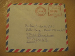 SAN JOSE DE ARICA 1996 To Barcelona Spain Cancel Meter Air Mail Cover CHILE - Chili
