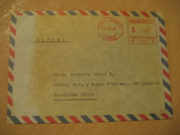 PUNTA ARENAS 1986 To Barcelona Spain Cancel Meter Air Mail Cover CHILE - Chili